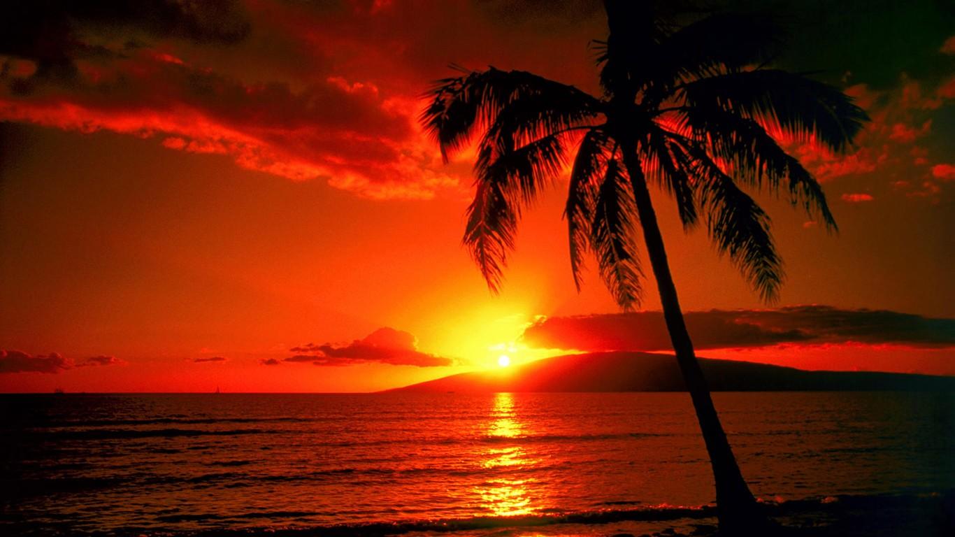 Beautiful Sunrise And Sunset Wallpaper 20 1366x768