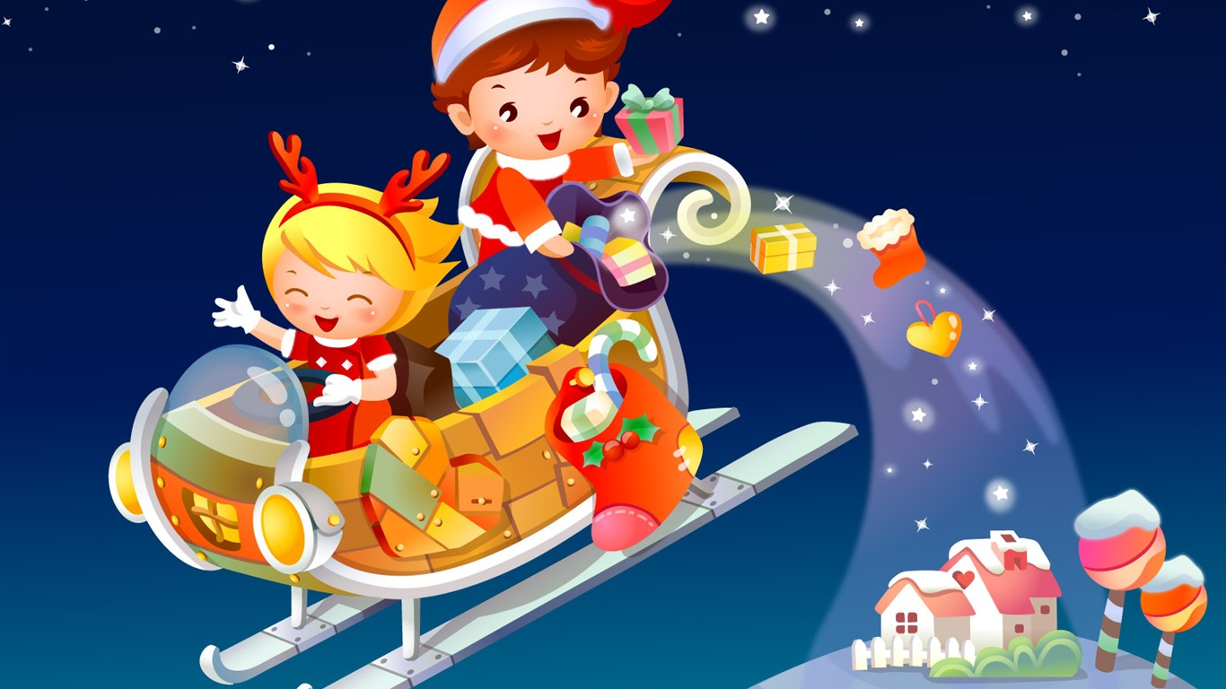 Vector Cartoon Child Wallpaper Album #13 - 1366x768