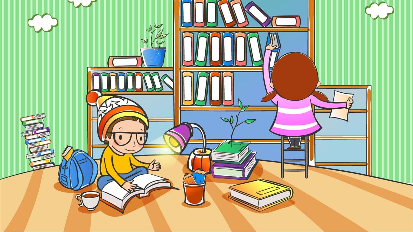 Vectores de dibujos animados fondos de escritorio de la infancia 1 6 1366x768 fondos de - Fondos de escritorio animados ...