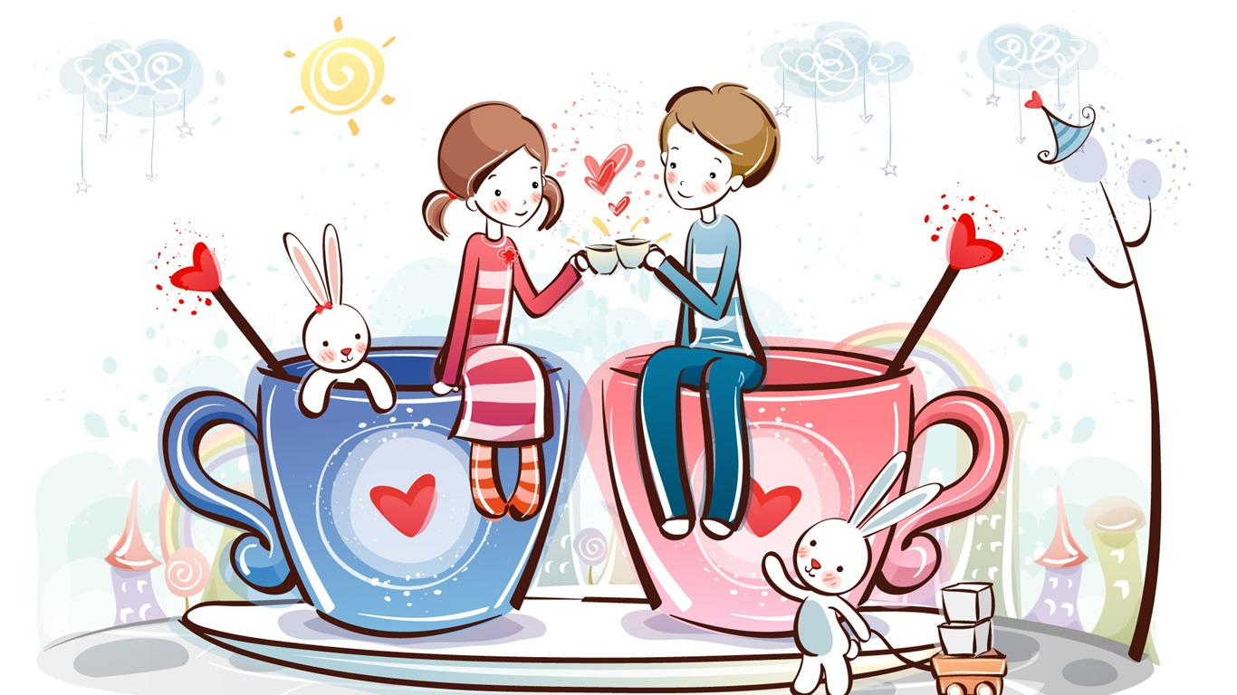 Cartoon valentine 39 s day wallpapers 2 1 1366x768 - Cartoon valentine wallpaper ...