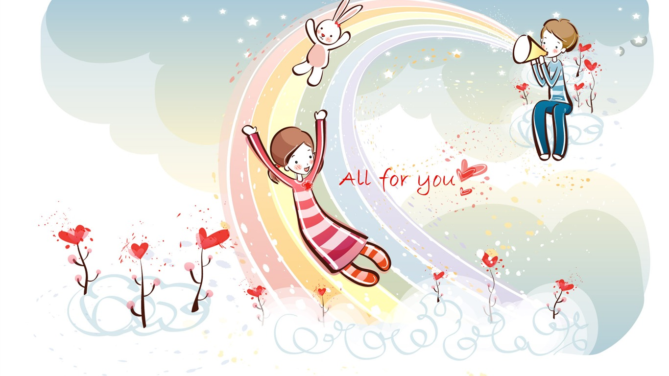 Cartoon valentine 39 s day wallpapers 2 4 1366x768 - Cartoon valentine wallpaper ...
