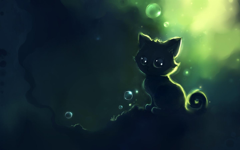 Black Cat Kitten Drawing