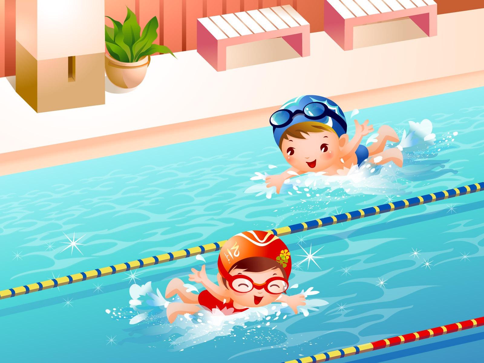 Рисунок на тему плавание в бассейне
