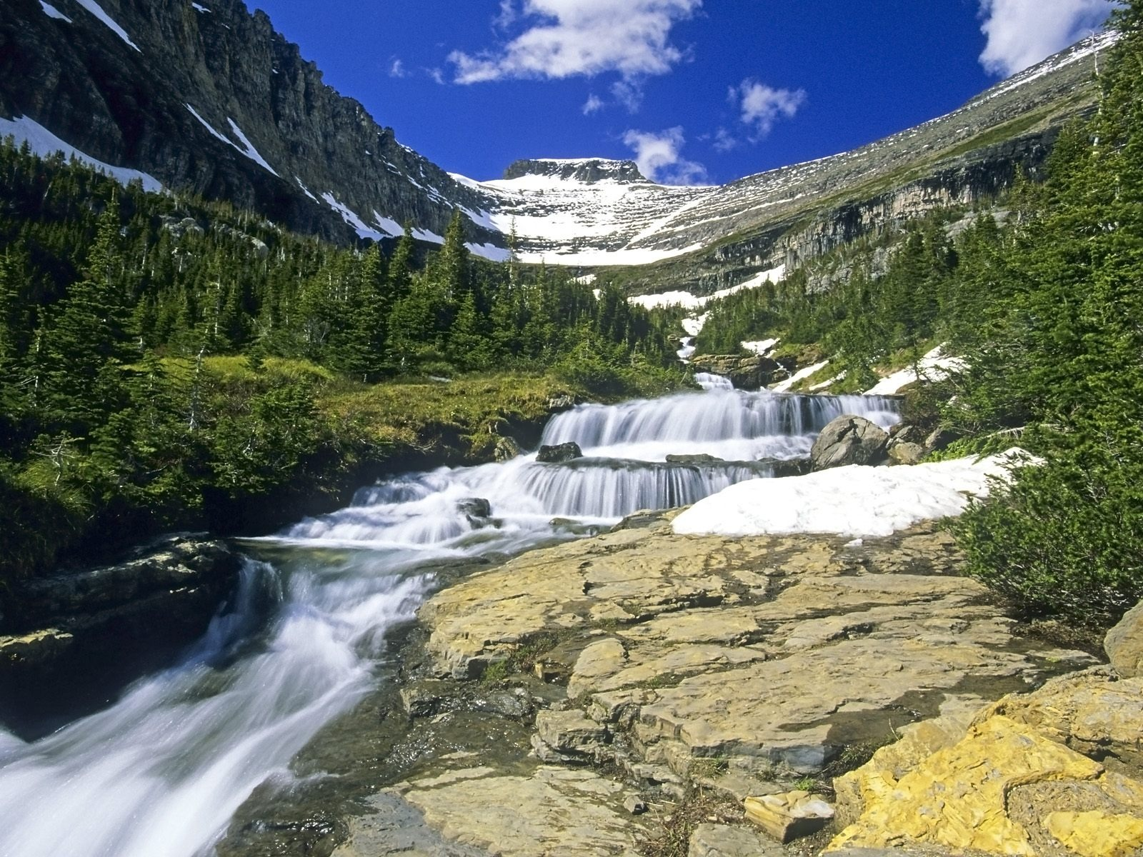 Waterfall streams wallpaper 10 15 1600x1200 wallpaper for Fly fishing glacier national park