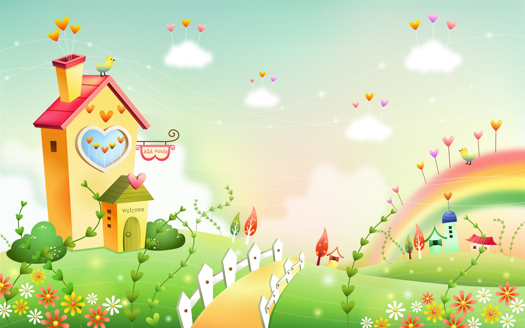 Cartoon fantasy scenery wallpapers 19 1680x1050 for Wallpaper home cartoon
