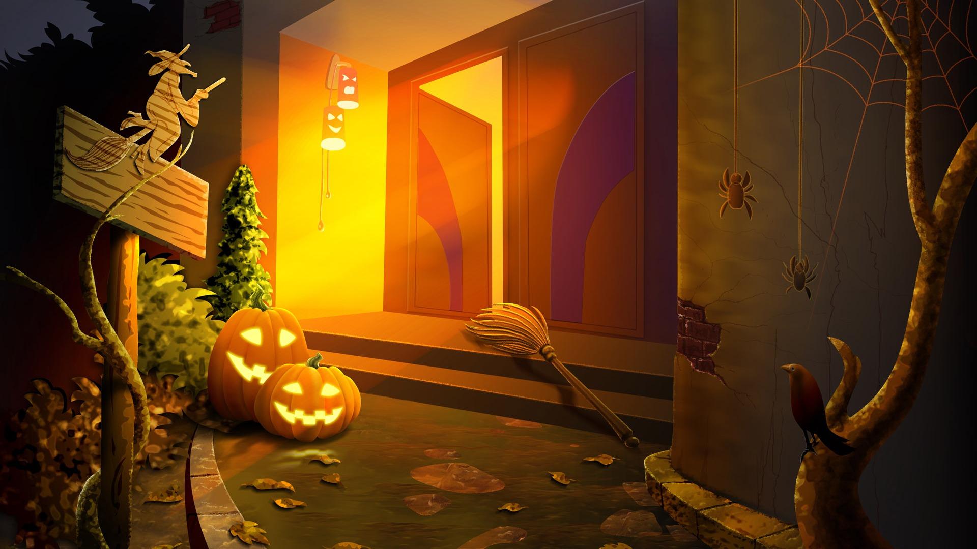 Fonds d 39 cran th me de l 39 halloween 4 8 1920x1080 fond for Theme ecran
