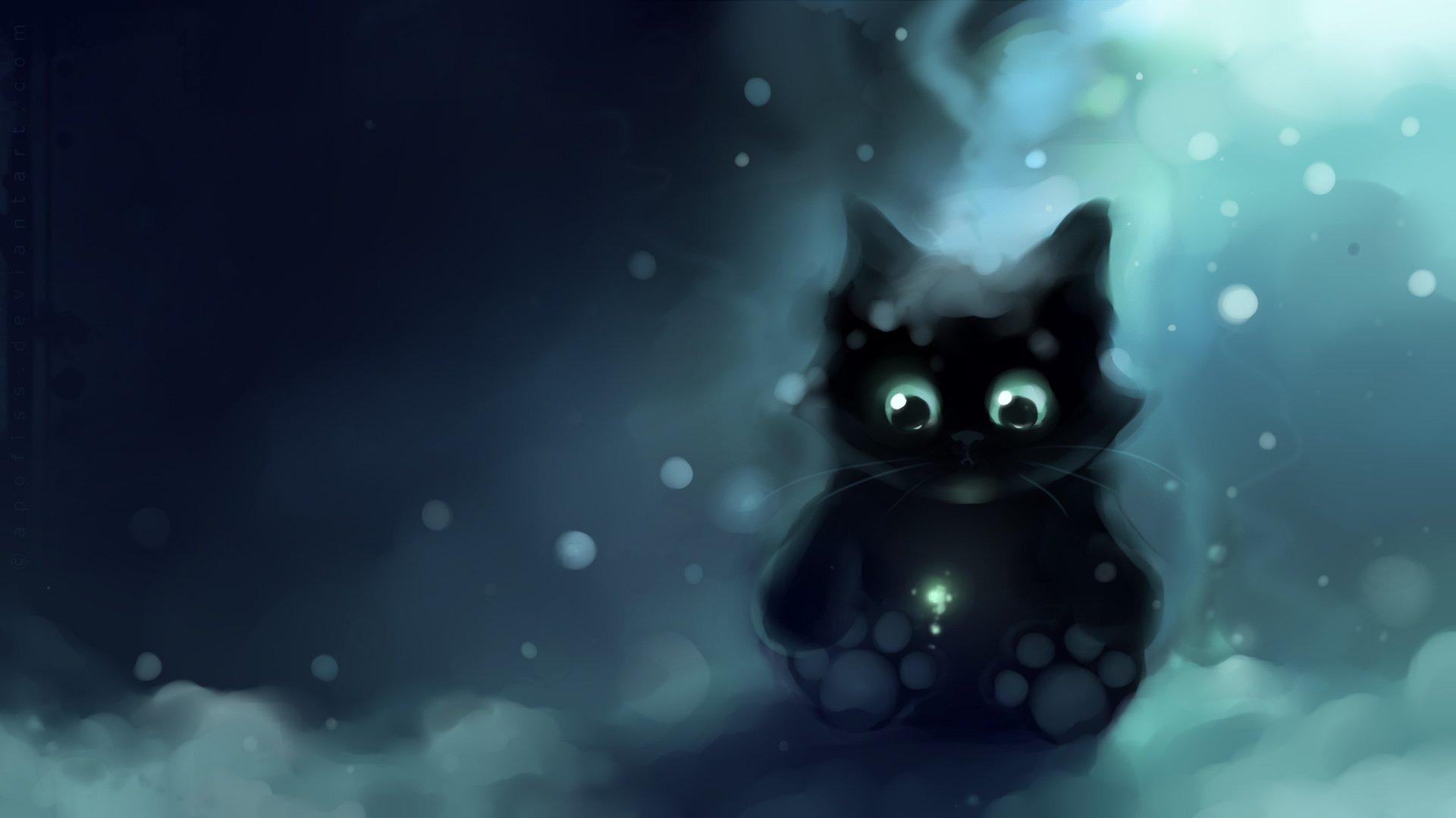 10 Best Hd Cute Cat Wallpapers Full Hd 1080p For Pc: Apofiss水彩插画 小黑猫壁纸18