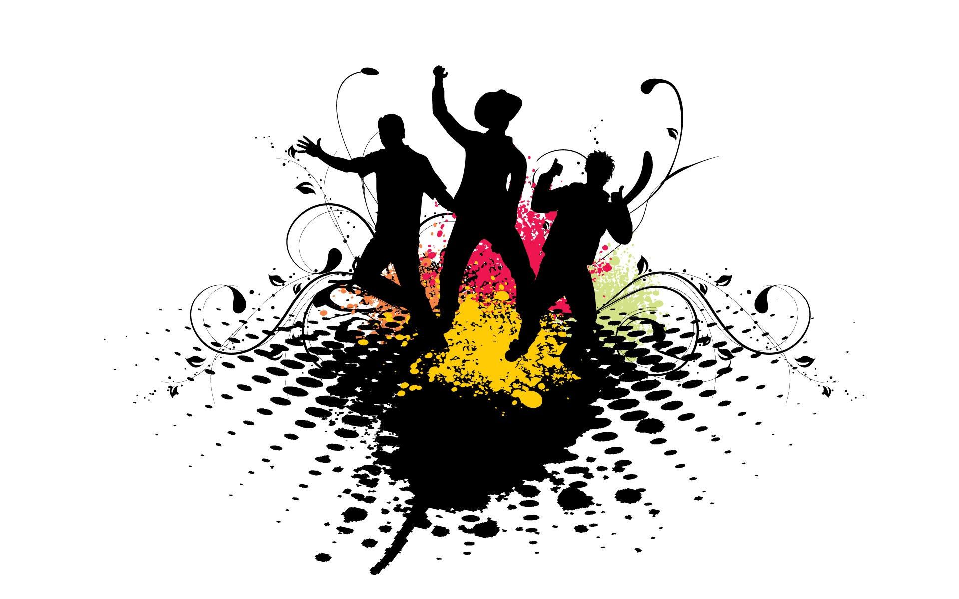 Silhouette Dance Music Abstract Background: Vector Musical Theme Wallpapers (2) #9