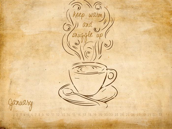 カレンダー 2014年1月カレンダー : Keep Warm and Snuggle Up Coffee