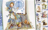 Holly Hobbie cute little girl hand-painted wallpaper