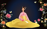 Vector wallpaper of Korean women (1)