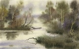 Watercolor landscape hand-painted wallpaper (2)