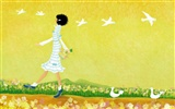 Hand-painted wallpaper girl romance (1)