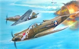 Military aircraft flight exquisite painting wallpapers