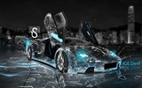 Water drops splash, beautiful car creative design wallpaper