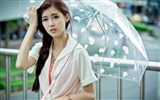 Rainy day pure girl HD wallpaper #1